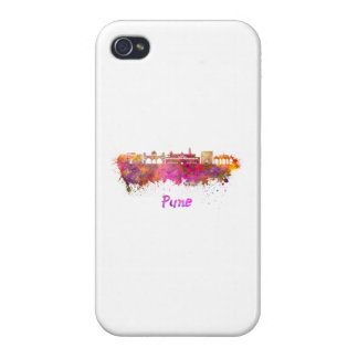 Pune skyline in watercolor cover for iPhone 4