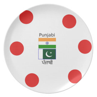 Punjabi Language With India And Pakistan Flags Plate