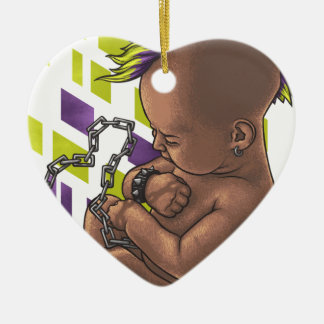 punk baby ceramic ornament