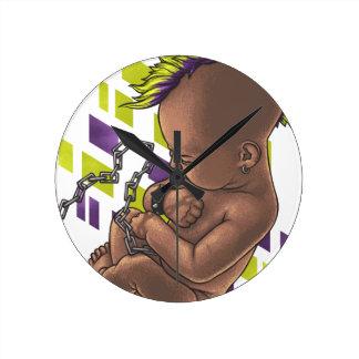 punk baby round clock