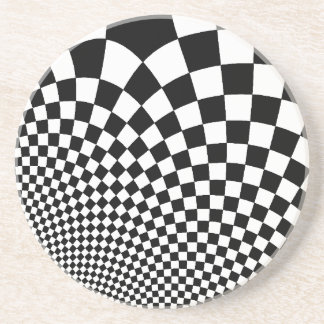 Punk black and white abstract checkerboard coaster