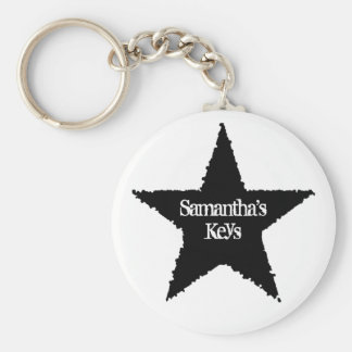 Punk black star keychain