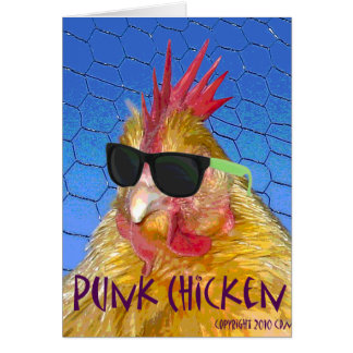 Punk Chicken Greeting Card