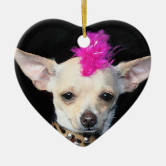 Punk Chihuahua heart ornament