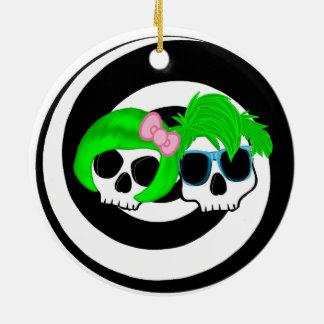Punk  Couple Skulls Round Ceramic Ornament