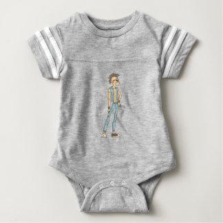 Punk Dangerous Criminal Outlined Comics Style Baby Bodysuit