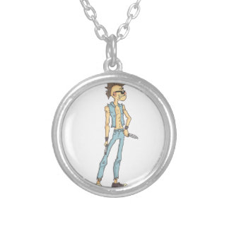 Punk Dangerous Criminal Outlined Comics Style Silver Plated Necklace