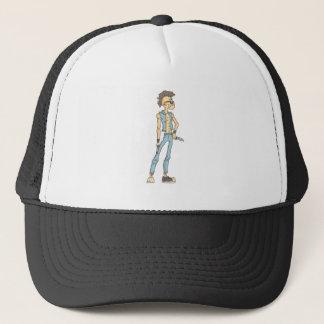 Punk Dangerous Criminal Outlined Comics Style Trucker Hat