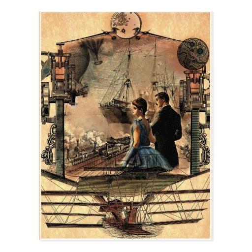 Punk de vapeur, carte postale vintage d'art de sty