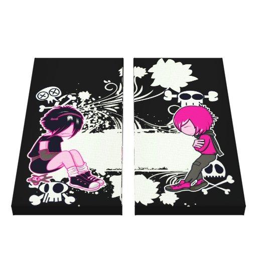 punk emo kids sulking vector art canvas prints