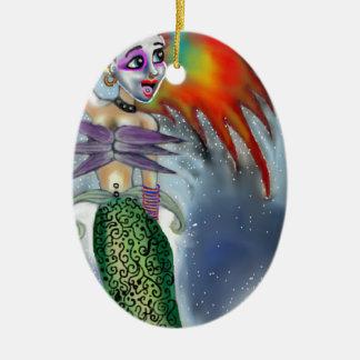 Punk goes the Mermaid Ceramic Ornament