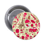 Punk In Paris Quirky French Icons pattern Pinback Buttons