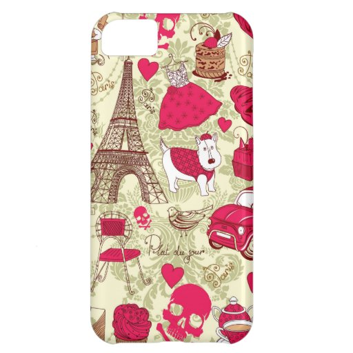 Punk In Paris Quirky French Icons pattern Case For iPhone 5C