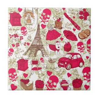 Punk In Paris Quirky French Icons pattern Tile
