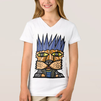 """Punk Kat"" Girls' V-Neck T-Shirt"