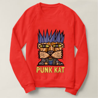 """""""Punk Kat"""" Men's Raglan Sweatshirt"""