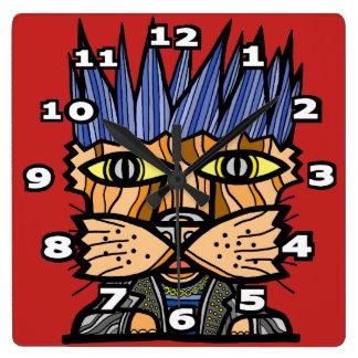 """Punk Kat"" Square Wall Clock"