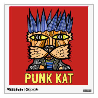 """Punk Kat"" Square Wall Decal"