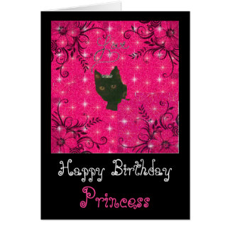 punk kitty princess birthday card