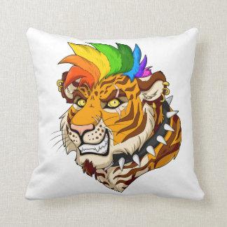 "Punk/Mohawk Tiger 16"" x 16"" Polyester Throw Pillow"
