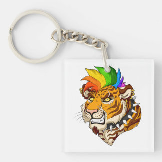 Punk/Mohawk Tiger Square (Double-Sided) Keychain