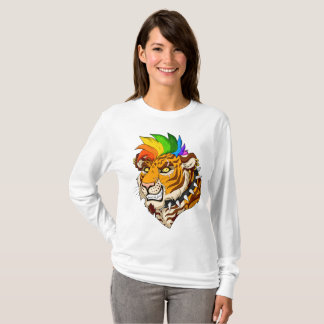 Punk/Mohawk Tiger Women's Basic Lonsleeve T-Shirt