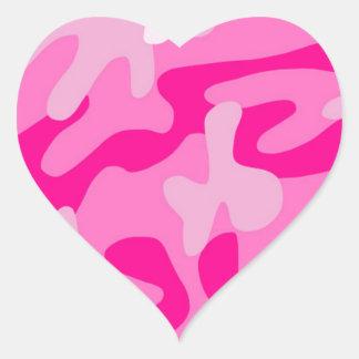 Punk Pink Camo Heart Sticker