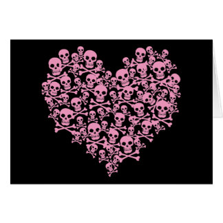 Punk Pink Skull Heart Card