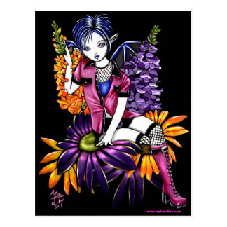Punk Pixie Gothic Flower Faerie Fantasy Postcard
