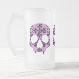Punk purple damask fanged skull beer mug