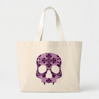 Punk purple damask fanged skull large tote bag