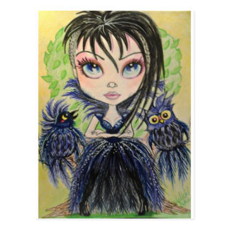 Punk Queen and The Owls Fantasy Art Postcard