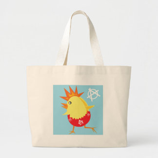 punk rock anarchy easter chick large tote bag