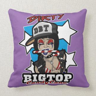 Punk Rock Clown Girl Candy Cane Throw Pillow