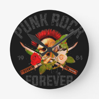 Punk rock forever round clock