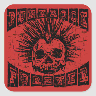 punk rock forever square sticker