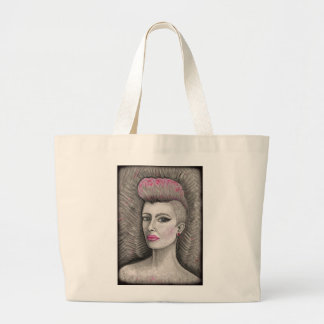 punk rock pink haired girl large tote bag