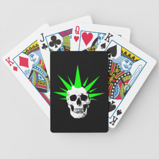 Punk Rock Skull with Neon Green Spikey Hair Bicycle Playing Cards