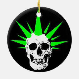 Punk Rock Skull with Neon Green Spikey Hair Ceramic Ornament