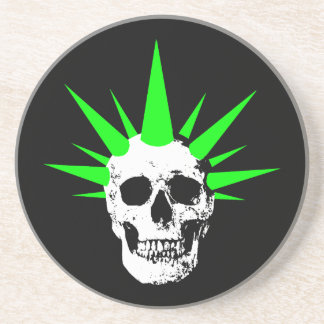 Punk Rock Skull with Neon Green Spikey Hair Coaster