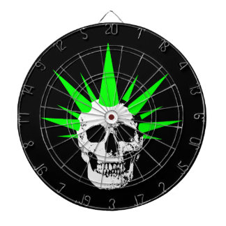Punk Rock Skull with Neon Green Spikey Hair Dart Boards