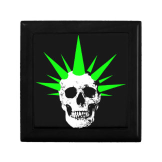 Punk Rock Skull with Neon Green Spikey Hair Gift Box