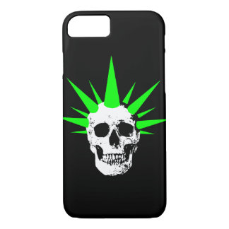 Punk Rock Skull with Neon Green Spikey Hair iPhone 8/7 Case