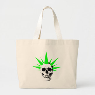 Punk Rock Skull with Neon Green Spikey Hair Large Tote Bag