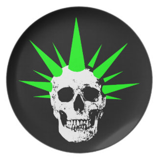 Punk Rock Skull with Neon Green Spikey Hair Plate