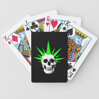 Punk Rock Skull with Neon Green Spikey Hair Poker Deck