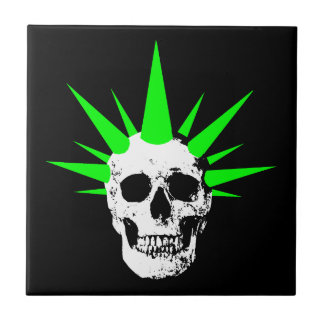 Punk Rock Skull with Neon Green Spikey Hair Tile