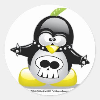 Punk Rocker Penguin Classic Round Sticker