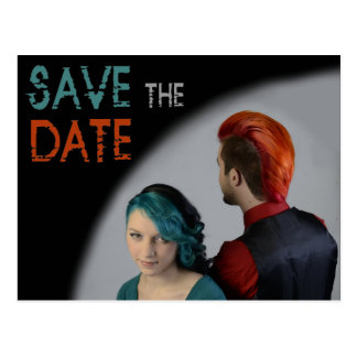 Punk save the date postcard rock couple wedding
