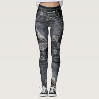 Punk/Skater Patchwork Lace Denim Design Leggings